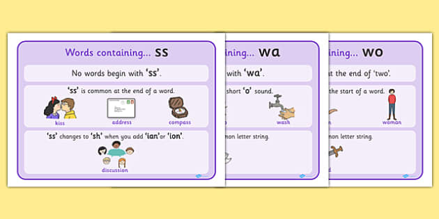 SS WA and WO Letter Word Display Posters - SS, WA, WO, words, letter word, display, poster, sign, posters, 'ss', 'wa', 'wo', words containing, letters, double letters