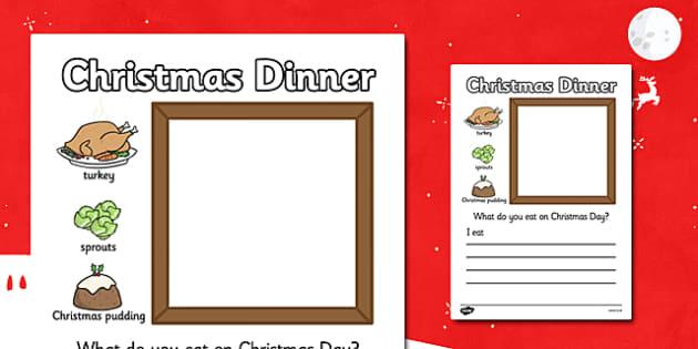 Christmas Dinner Writing Frame - christmas, writing frame, write