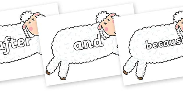 Connectives on Hullabaloo Sheep to Support Teaching on Farmyard Hullabaloo - Connectives, VCOP, connective resources, connectives display words, connective displays