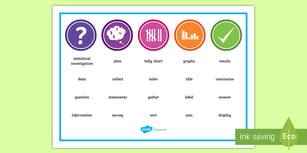 Statistics Word Mat - NZ Statistics (Back to School), key words, maths vocabulary, year 4 maths, year 5 maths, year 6 math