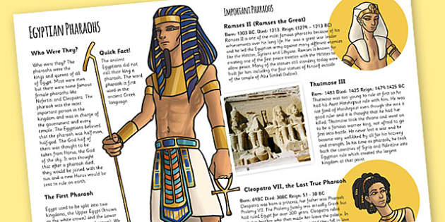 The Ancient Egyptians Pharaohs Information Print Out - egypt, KS2