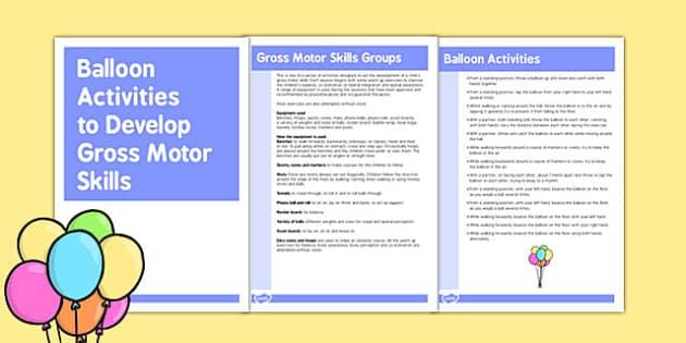 Balloon Gross Motor Skills Activities - gross motor, balloon