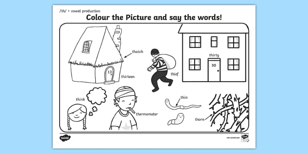 th Sound Word Production Colouring Scene - th sound, sounds
