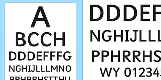 Doctor's Surgery Eye Chart Welsh - welsh, cymraeg, Doctors surgery role play, doctor, nurse, surgery, role play, doctors role play, people who help us role play, people who help us, Eye chart display