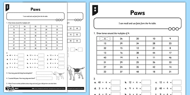 Differentiated Multiples of 4 Activity Sheet Pack - 4 x table, 4s, multiply by 4, divide by 4, array, related facts, commutative, differentiated activity, worksheet