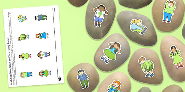 Heads, Shoulders, Knees and Toes Story Stones Image Cut-Outs -  rhyme, song, body, science