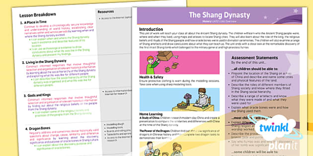 PlanIt - History UKS2 - The Shang Dynasty Unit Planning Overview - planit, history, uks2, the shang dynasty, planning overview
