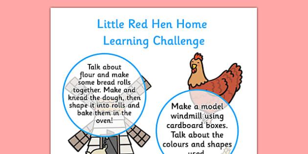 EYFS Little Red Hen Home Learning Challenge Sheet Nursery FS1 - little red hen