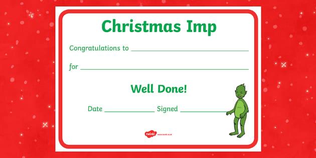 The Christmas Imp Reward Certificate - The Christmas Imp, grinch, grinch who stole christmas, christmas, green, imp, dr seuss