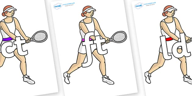 Final Letter Blends on Tennis Players - Final Letters, final letter, letter blend, letter blends, consonant, consonants, digraph, trigraph, literacy, alphabet, letters, foundation stage literacy