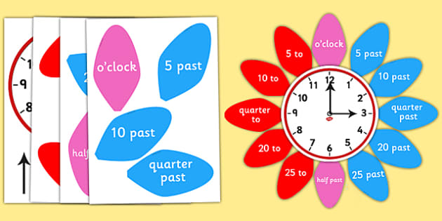 Analogue Clock Flower Labels - analogue, clock, flower, labels