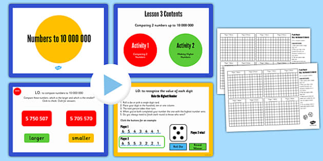 Year 6 Numbers to 10,000,000 Lesson 3 Teaching Pack - year 6, numbers, pack