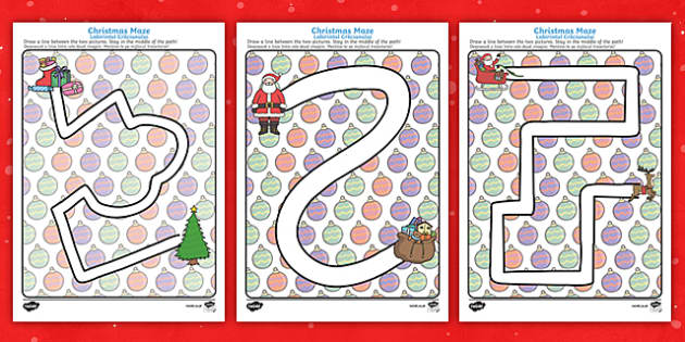 Christmas Pencil Control Path Worksheets English/Romanian - Christmas Pencil Control Path Worksheets - christmas, pencil control, pencil control worksheets, fin
