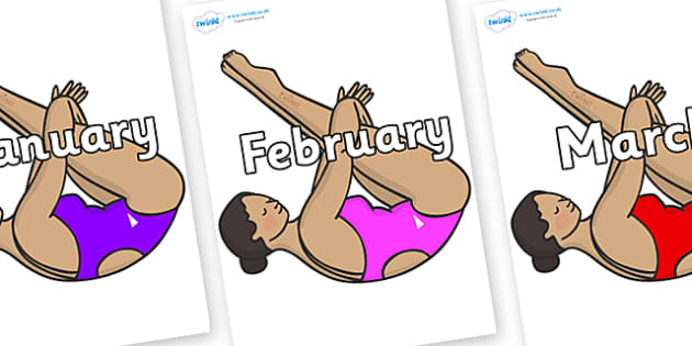 Months of the Year on Olympic Divers - Months of the Year, Months poster, Months display, display, poster, frieze, Months, month, January, February, March, April, May, June, July, August, September