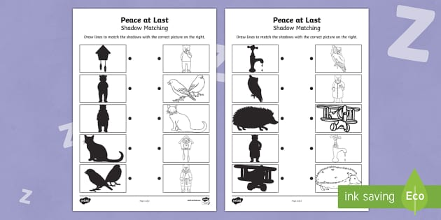Peace at Last Shadow Matching Worksheet - peace at last, shadow, matching, worksheet