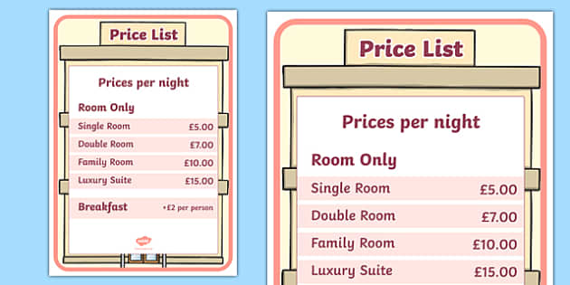 Hotel Role Play Price List - hotel, role play, price list, prices