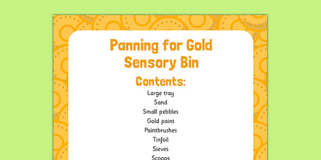 Panning for Gold Sensory Bin - St Patricks Day, EYFS, panning for gold, pan, gold