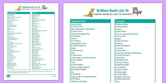 Brilliant Book List Y6