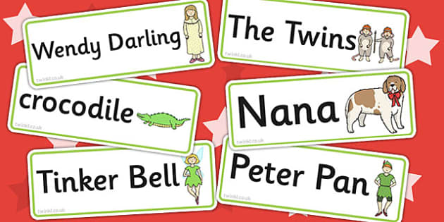 Peter Pan Word Cards - Peter, Pan, Word, Cards, Story, Tinkerbelle