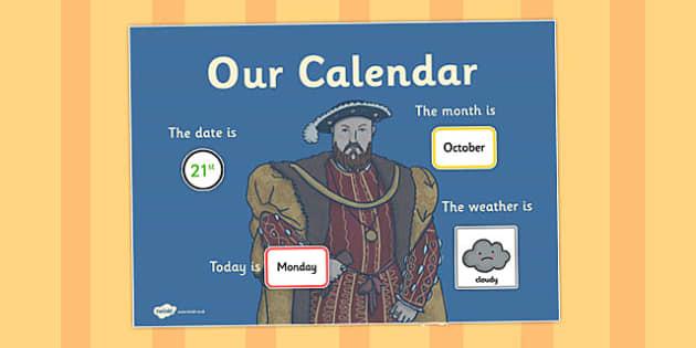 The Tudors Themed Display Calendar - tudors, display, calendar