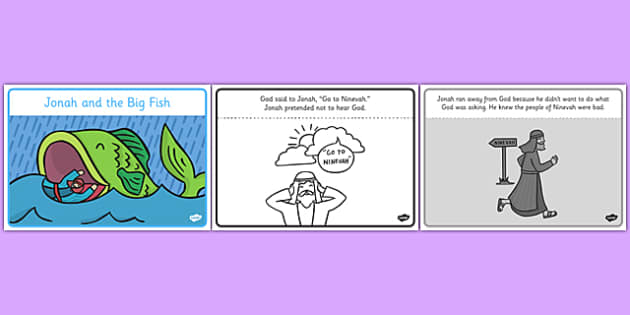 Jonah and the Big Fish Story Sequencing Black & White (A4) - Jonah, big fish, bible, God, Ninevah, fish, help, biblical story, biblical stories, eaten by a fish, listen to god