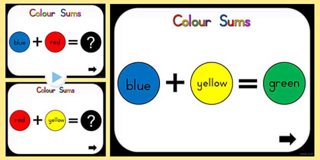 Colour Mixing Sums PowerPoint (Australia) - colours, powerpoints