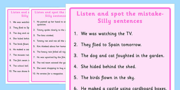 Listen and Spot The Mistake 6 - mistakes, visual, sentences