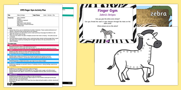 EYFS Zebra's Stripes Finger Gym Plan and Resource Pack