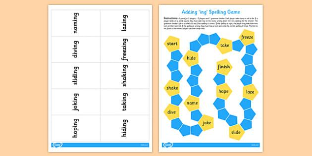 Adding ing Board Game - adding, ing, board game, game, -ing