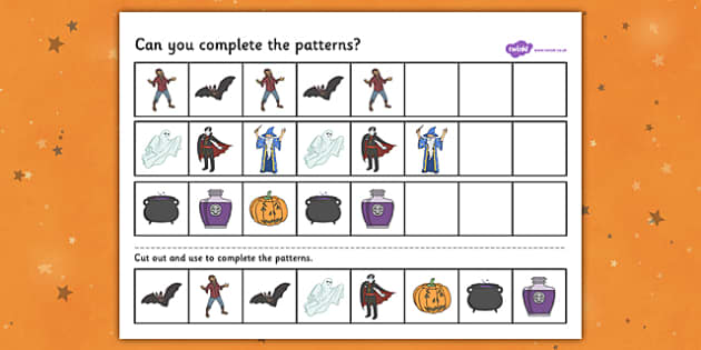 Halloween Complete the Pattern Worksheet - Halloween, Pattern, repeating
