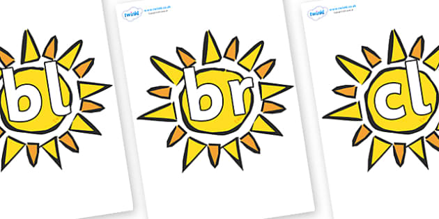 Initial Letter Blends on The Sun - Initial Letters, initial letter, letter blend, letter blends, consonant, consonants, digraph, trigraph, literacy, alphabet, letters, foundation stage literacy