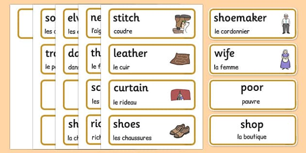 The Elves and the Shoemaker Word Cards French Translation - french, Traditional tale, tales, elves, elf, shoemaker, flashcards, cards, word cards, wife, stitch, leather, danced, shirt, needle, thread, socks, trousers, shoes, workshop, story, fairytal