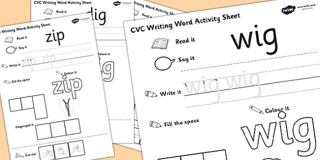 CVC Writing Word Activity Sheet Pack 'i' with British Sign Language, worksheet
