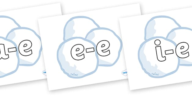 Modifying E Letters on Snowballs - Modifying E, letters, modify, Phase 5, Phase five, alternative spellings for phonemes, DfES letters and Sounds