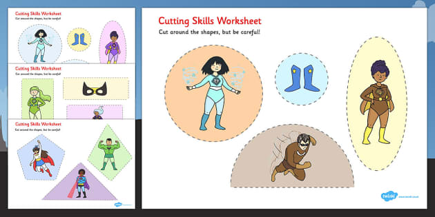 Superhero Themed Cutting Skills Worksheets - fine motor skills