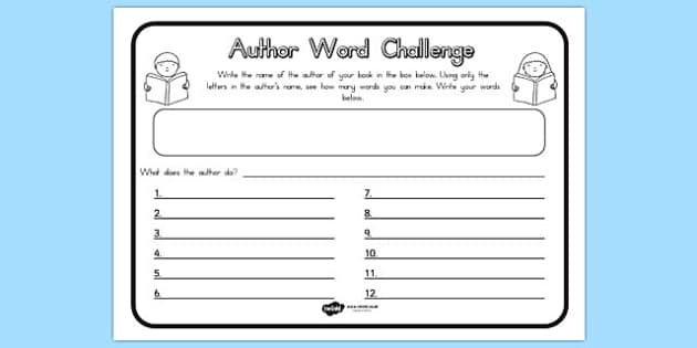 Author Word Challenge Worksheet - challenges, words, worksheets