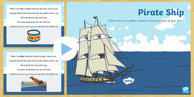 Pirate Ship Counting Song PowerPoint - Pirate, Song, Count, Ship