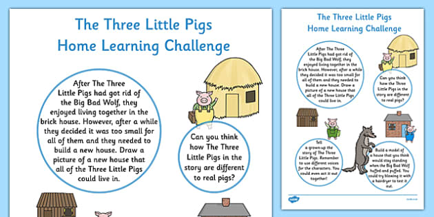 The Three Little Pigs EYFS Home Learning Challenge Sheet Nursery FS1 - Homework, EYFS planning, Early years activities, traditional tales