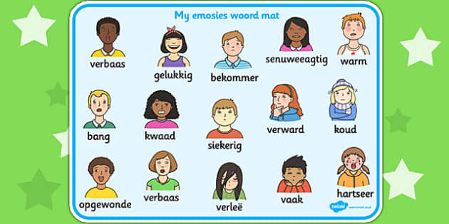 Afrikaans My Emotions Word Mat - afrikaans, emotions, word mat
