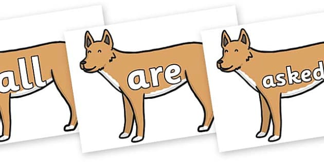 Tricky Words on Dingo - Tricky words, DfES Letters and Sounds, Letters and sounds, display, words