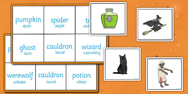 Halloween Bingo Polish Translation - polish, halloween, bingo, game, activity, class, festival, celebration