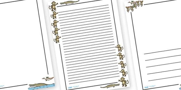 Five Little Monkeys Page Borders - Five Little Monkeys, nursery rhyme, Literacy, writing, page border, a4 border, template, writing aid, writing border, page template, rhyme, rhyming, nursery rhyme story, nursery rhymes, counting rhymes, taking away,