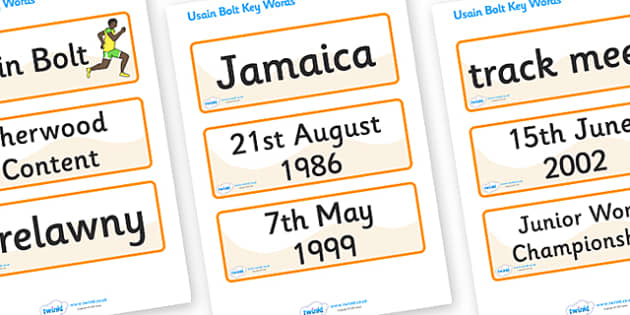Usain Bolt Word Cards - Usain Bolt, Sherwood Content, Jamaica, Trelawny, world record, 100 meter dash, word card, flashcards, cards, track meet, Junio World Championships, Jamaican Olympic Team, gold medal