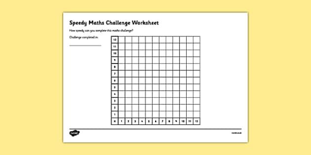 Speedy Maths Challenge Worksheet 1 - maths challenge, maths challenge worksheet, times tables, times tables challenge, timed maths challenge, ks2 numeracy