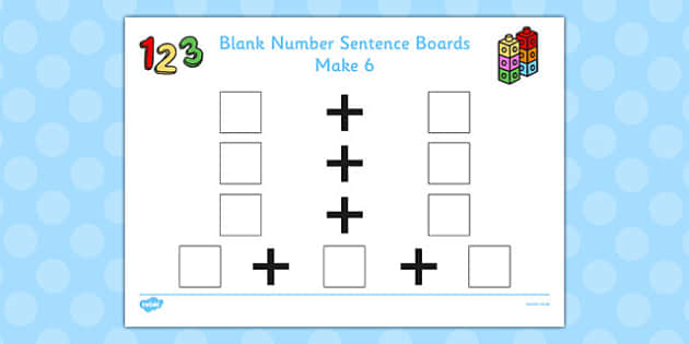 Blank Number Sentence Boards to 10 Make 6 - sentence boards
