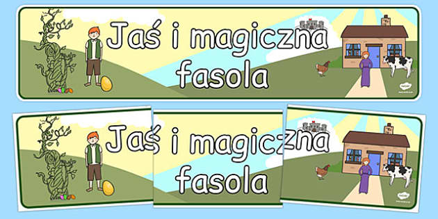 Banner na gazetkę Jaś i magiczna fasola po polsku - lektura