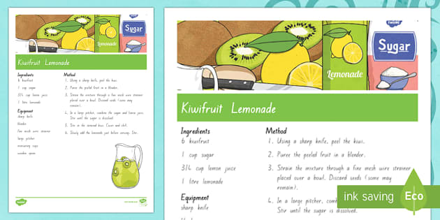 Treaty treats Kiwifruit lemonade Recipe - Waitangi Day, Treaty of Waitangi, tiriti o waitangi, kiwi, kiwiana, recipes