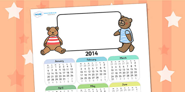 2014 Teddy Themed Editable Calendar - teddy, editable calendar, calendar, editable, themed calendar, dates, photo calendar, themed editable calendar