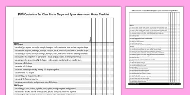 1999 Curriculum 3rd Class Maths Shape and Space Assessment Group Checklist - roi, gaeilge, maths, curriculum, 1999