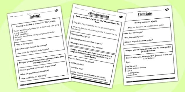 The Secret Garden Challenge Activity Worksheets - challenge